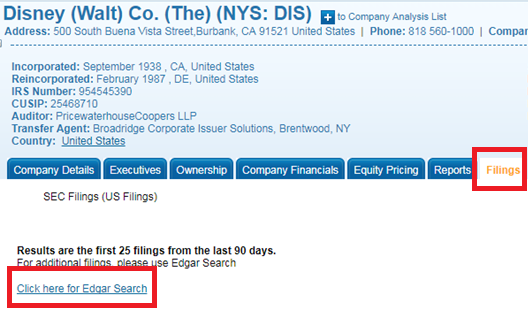 "Click on the Filings tab, and if you cannot find what you need, click the link that says ""Click here for Edgar search"""