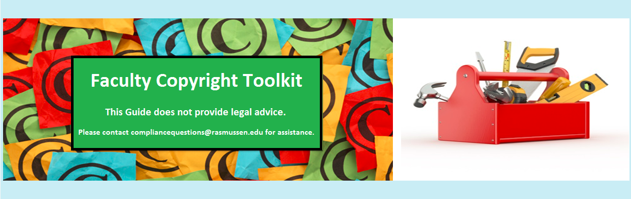 Copyright Toolkit text and a toolbox with tools