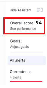 Overall Score link in Grammarly