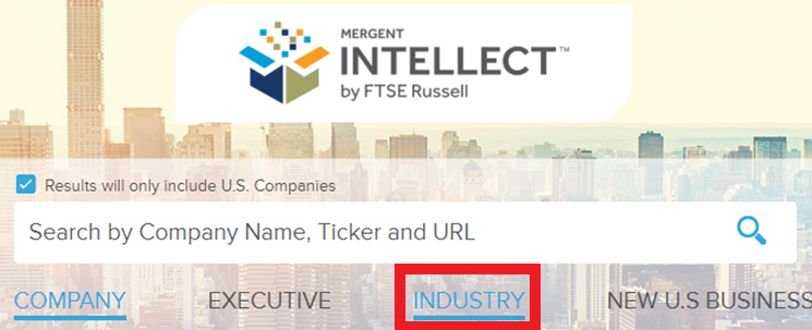 Industry option located in search bar