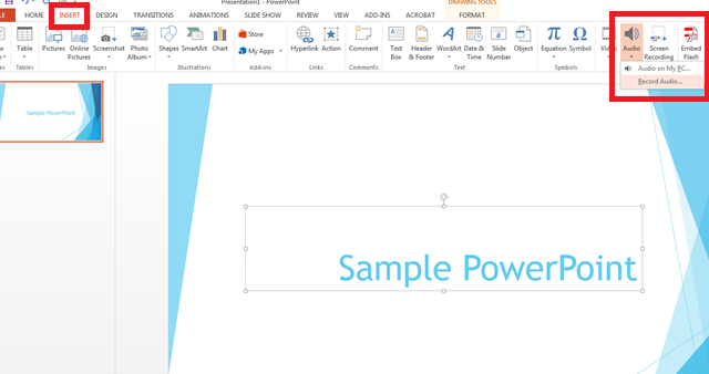 Screenshot of the Insert, Audio, and Record Audio icons in PowerPoint