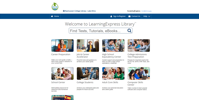 Screencapture of Learning Express homepage
