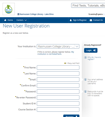 Screencapture of New User Registration in Learning Express