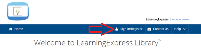 SignIn/Register button for Learning Express