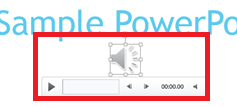 Screenshot of the play/speaker icon in powerpoint