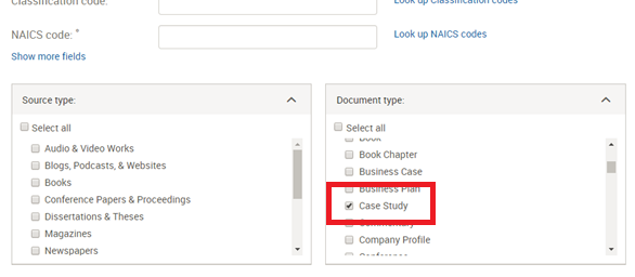 Search for case study document type in Business via ProQuest