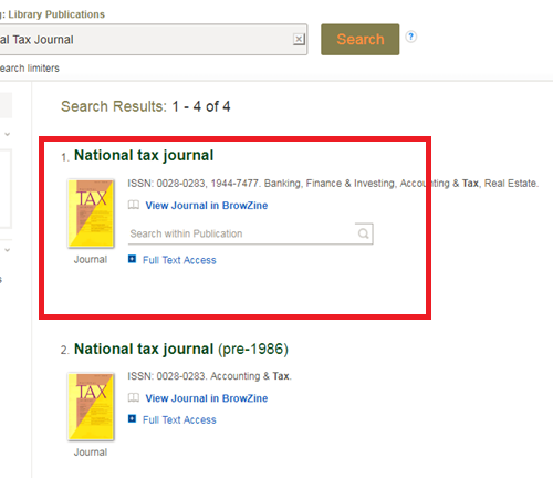Selecting the National Tax Journal collection with fewer date limitations