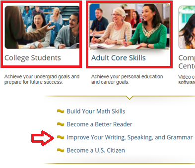 Screencapture of College Students and Adult Core Skills areas in Learning Express
