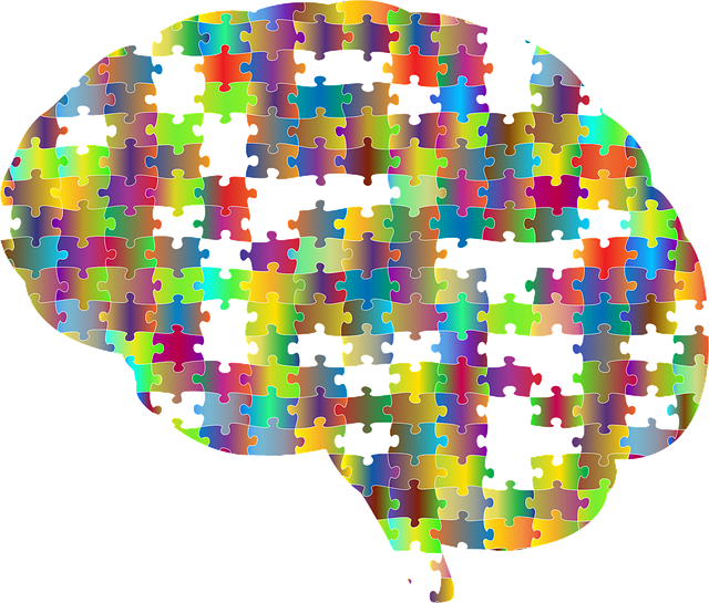 Human brain represented by puzzle pieces