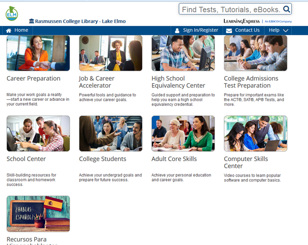 Screencapture of LearningExpress homepage