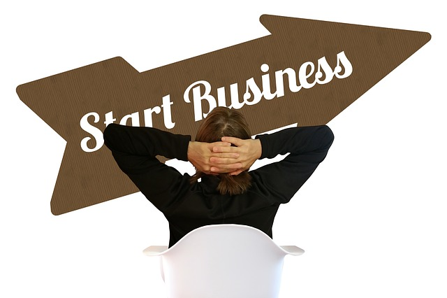 Start business arrow with business woman in chair
