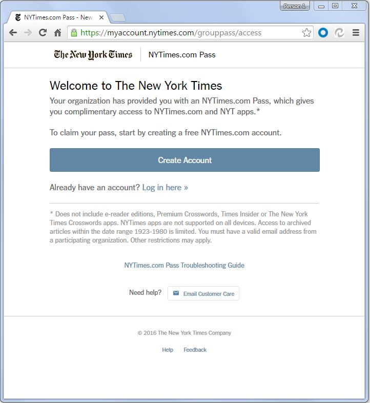 New York Times Pass Page