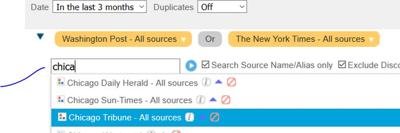 Limiting Factiva search results by the title of source publication