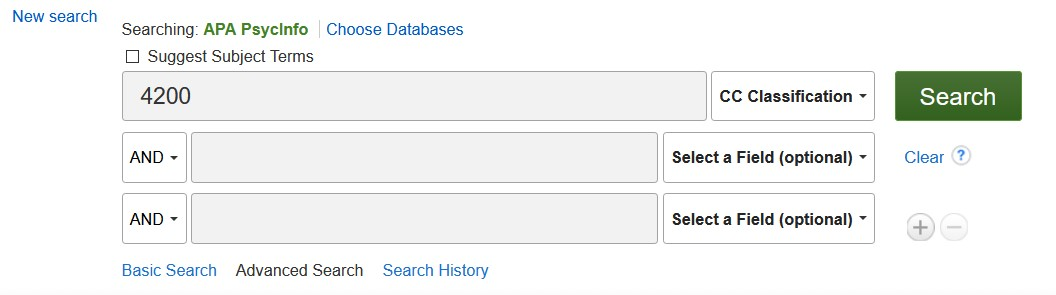screenshot of classification code search in PsycINFO