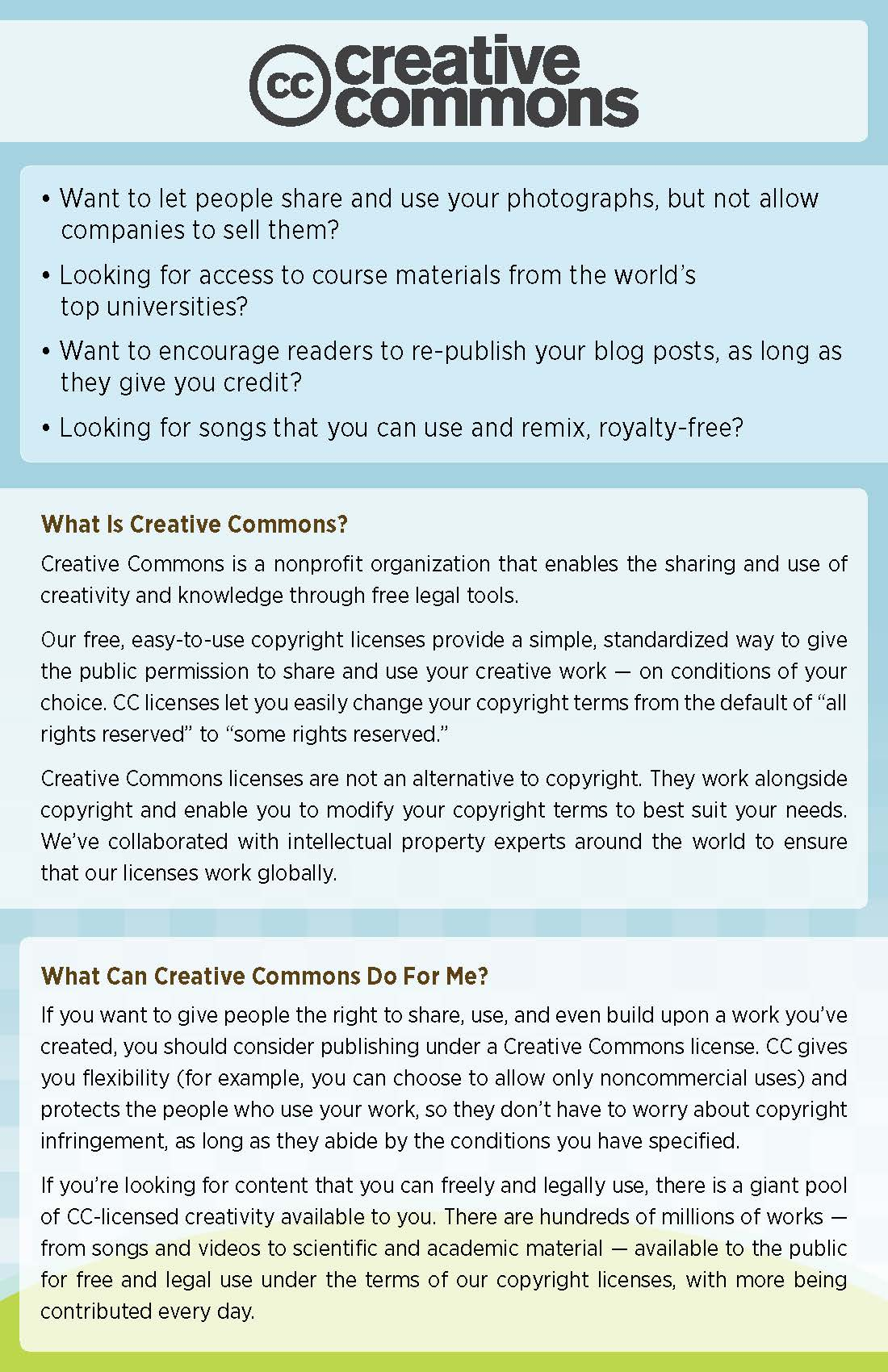 A full-text PDF of this image, titled What is Creative Commons?, can be found by clicking on the link below.