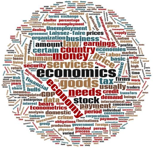 Decorative word cloud made of up terms and concepts used in economics