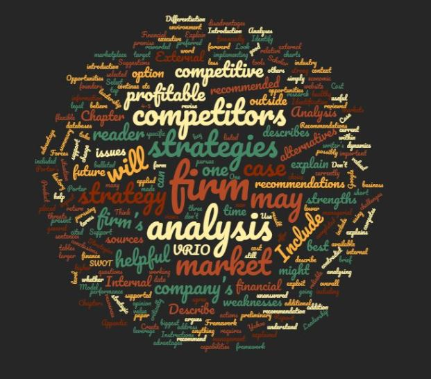 World Cloud representing the case analysis assignment for MGT 288