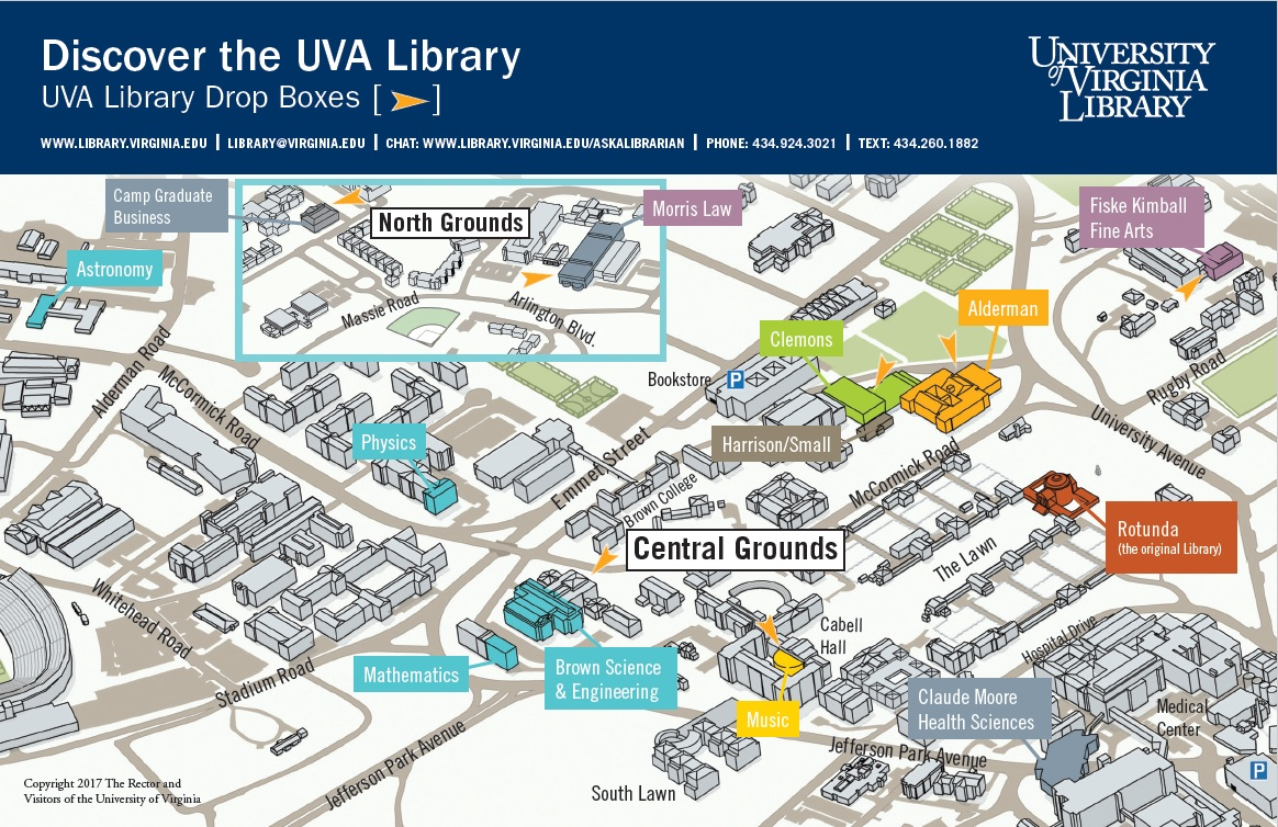 Map of all twelve UVA libraries
