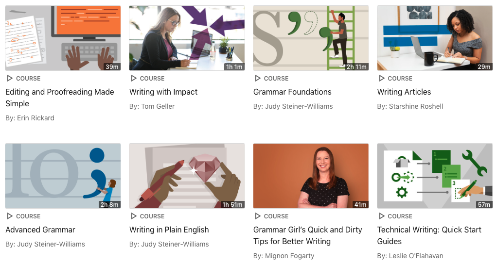 Screenshot of the Linkedin Learning collection for writing and editing