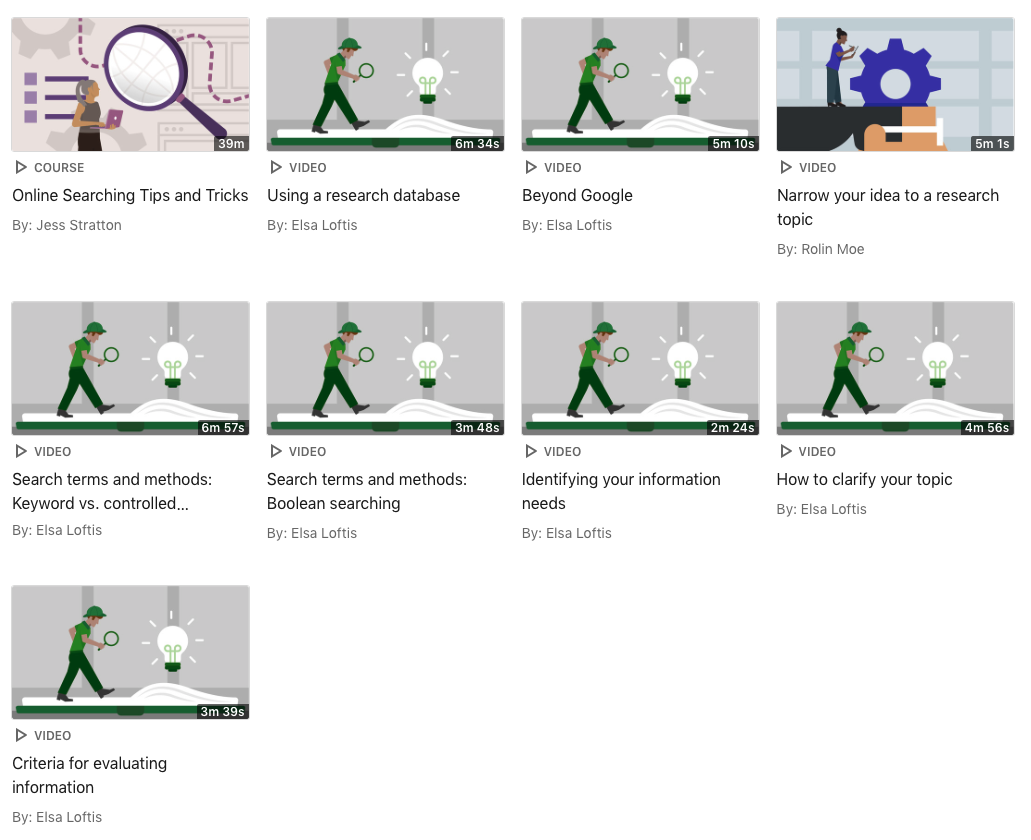 A screenshot of the videos available in the Linkedin Learning Collection for Search Strategies