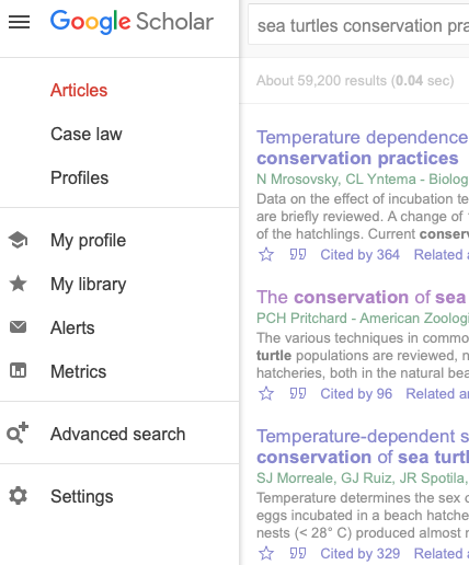 """A screenshot of Google Scholar with the toolbar in the upper left-hand corner of the screen selected so that the options for """"Settings"""" is highlighted."""