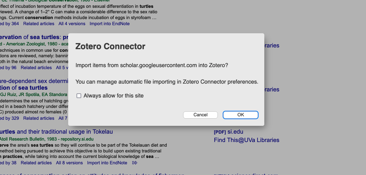 Screenshot of Zotero Connector asking to import RIS file format from Google Scholar.