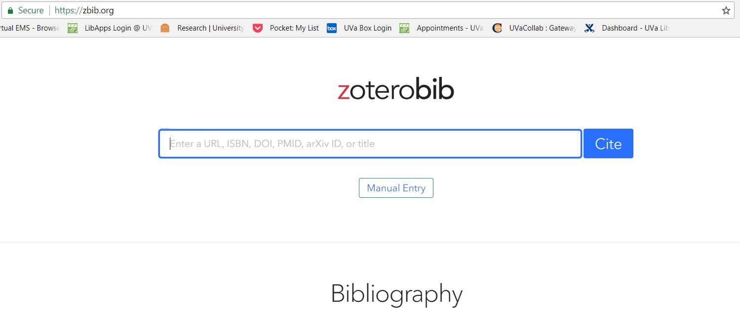 Screenshot of ZBib website