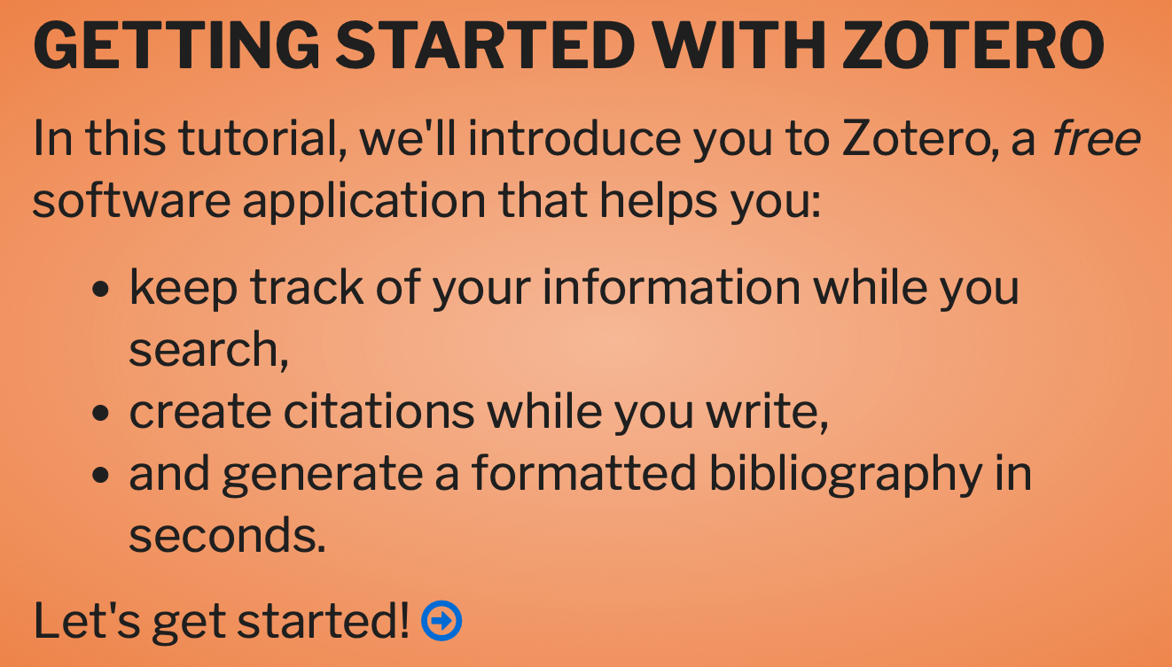 "A screenshot of the landing page of the ""Getting Started with Zotero"" tutorial including a link to the tutorial itself."