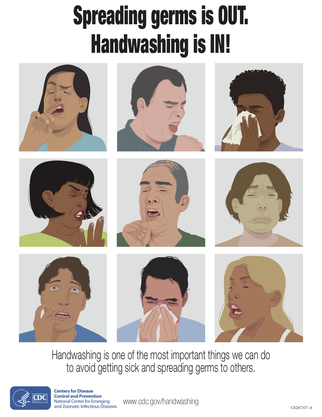 A poster featuring nine images of various people sneezing or coughing with a reminder on the importance of hand washing.