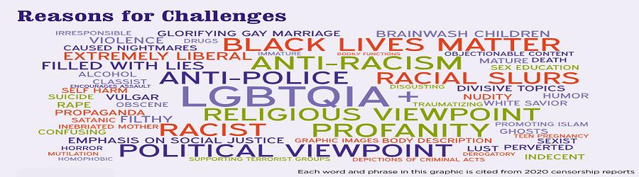 Word cloud that lists reasons for challenges. Examples: anti-police, racial slurs, LGBTQIA, profanity, etc.