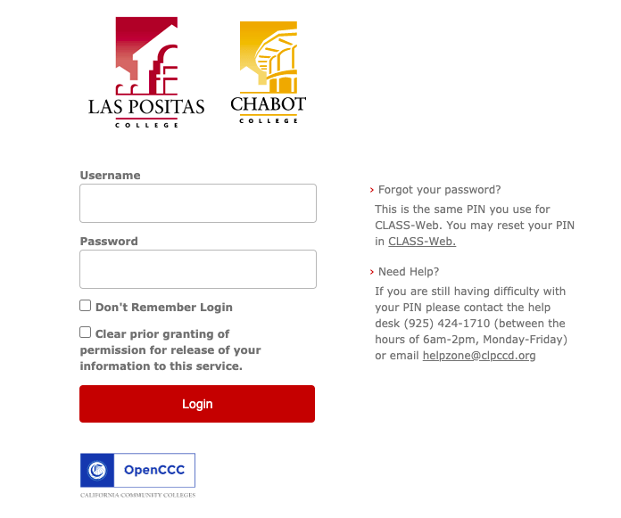 image of library account login screen