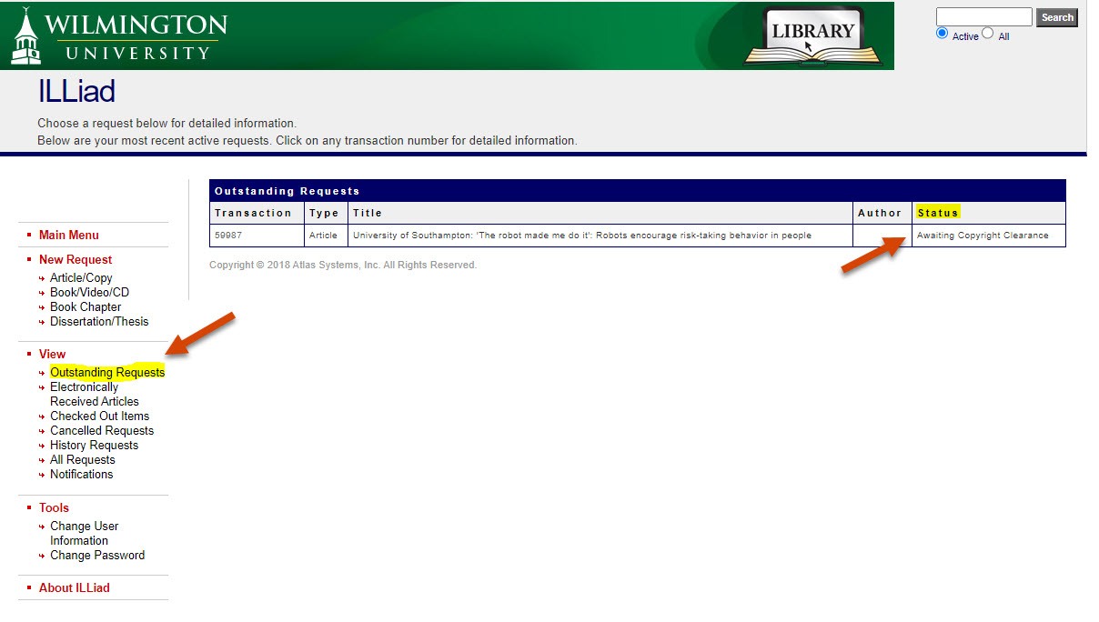 checking status of interlibrary loan