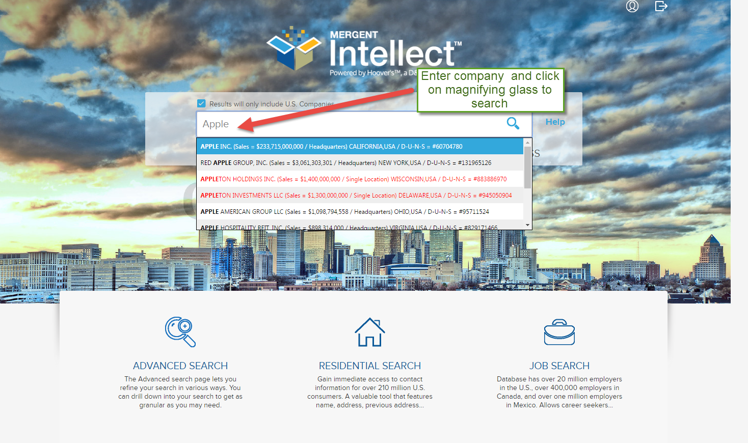Mergent Intellect search page