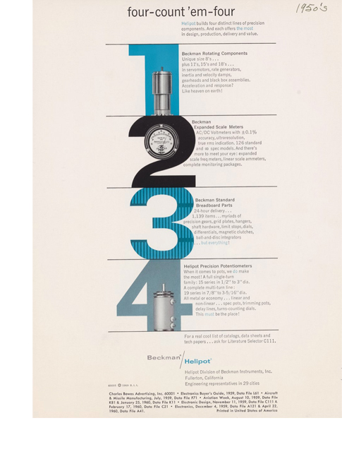 "Beckman Instruments, and Charles Bowes Advertising. ""Four -- Count 'Em -- Four,"" 1959. Beckman Historical Collection, Box 49, Folder 16. Science History Institute. Philadelphia. https://digital.sciencehistory.org/works/c534fn96k."