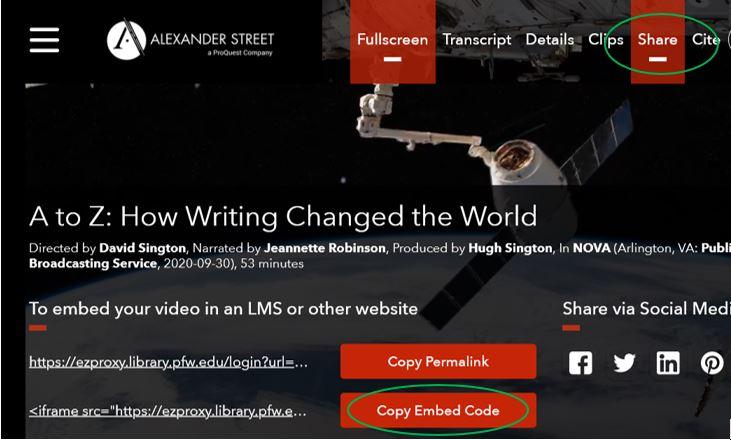screenshot of Alexander Street database
