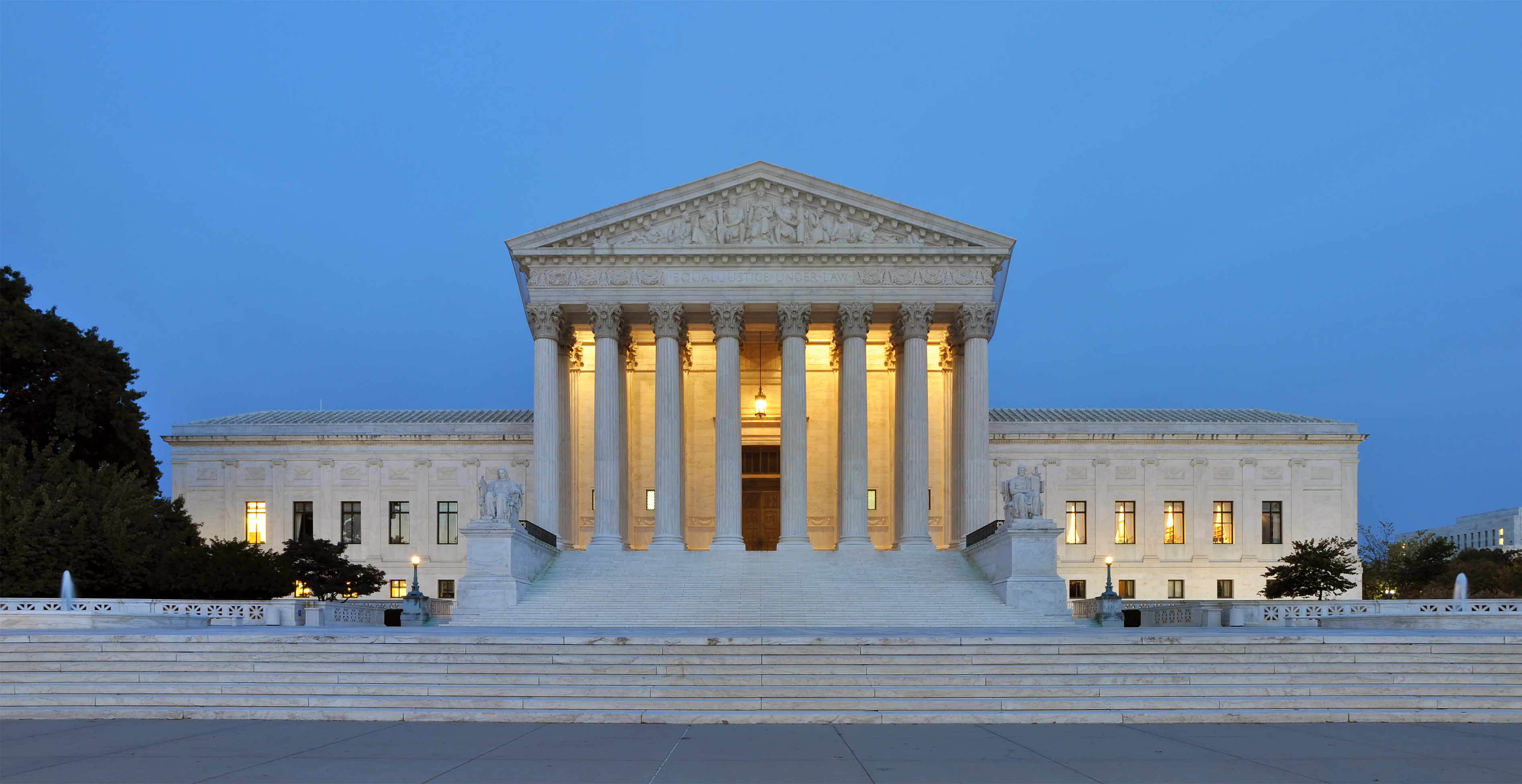 A panorama of the United States Supreme Court building.