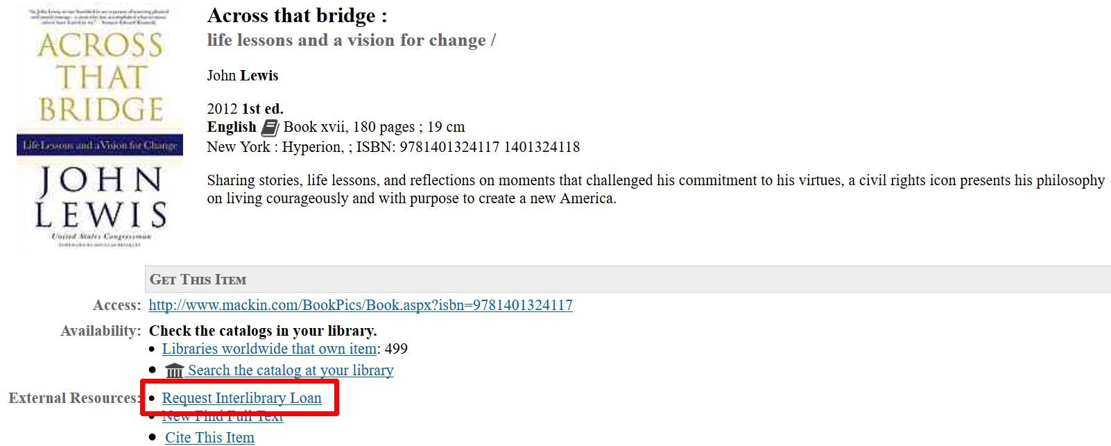 screenshot of link to request interlibrary loan from title record