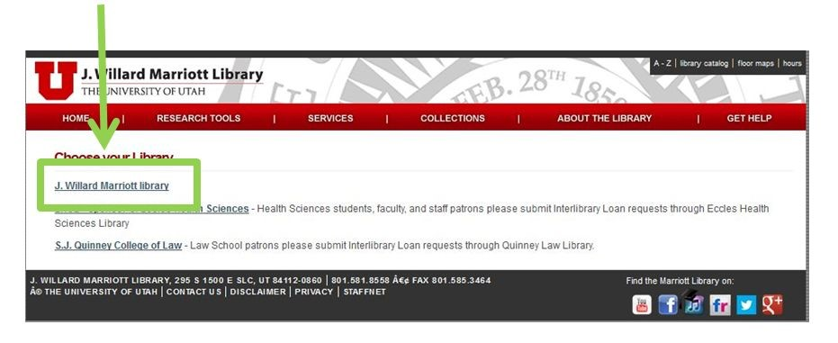 Choose Your Library page. Marriott Library is the first listed.