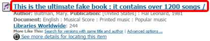 title circled from brief item record shown in search results