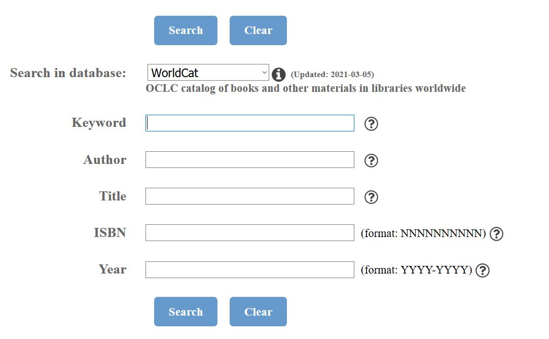 WorldCat allows you to search by keyword, author, title, ISBN, and year.
