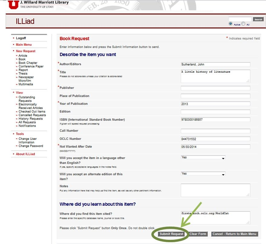 ILLiad book request form filled out with submit button circled at the bottom