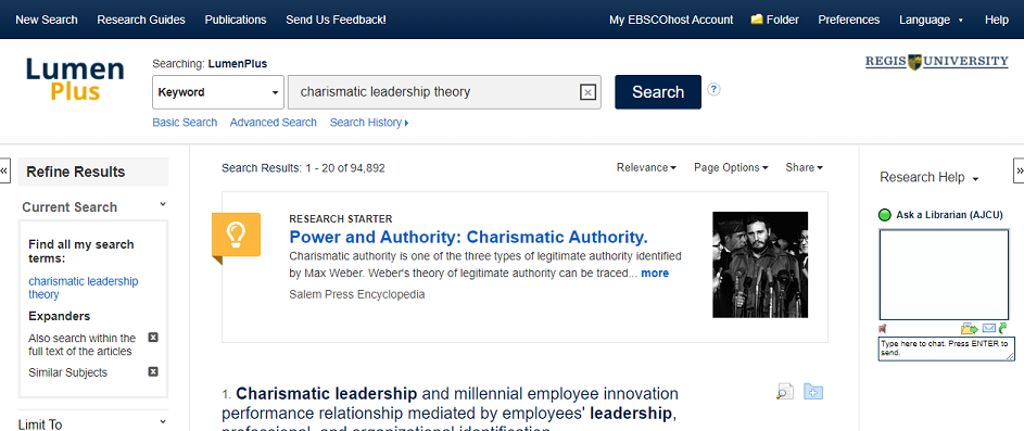 My EBSCOhost Account login