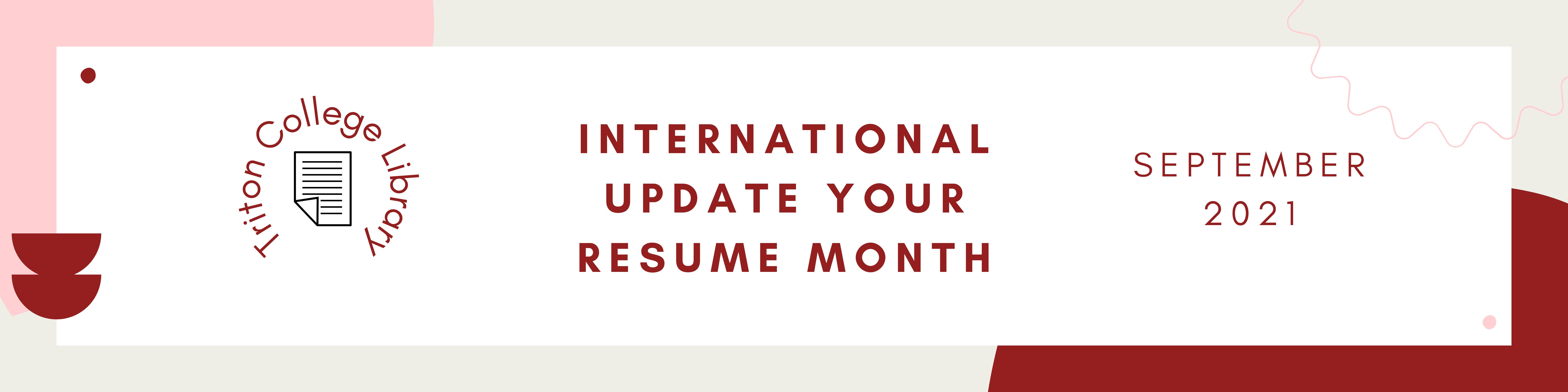 International Update Your Resume Month Banner