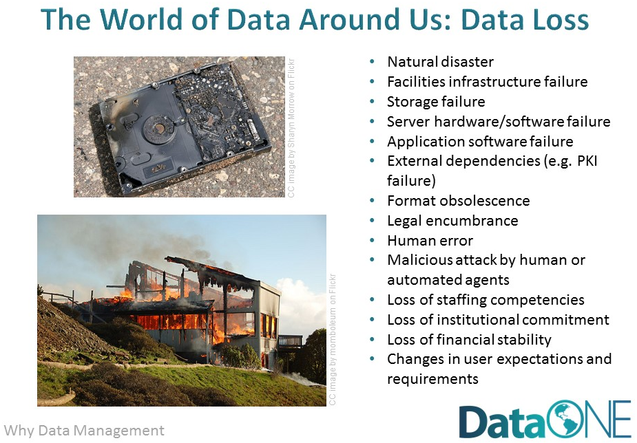 DataONE slide listing causes of data loss
