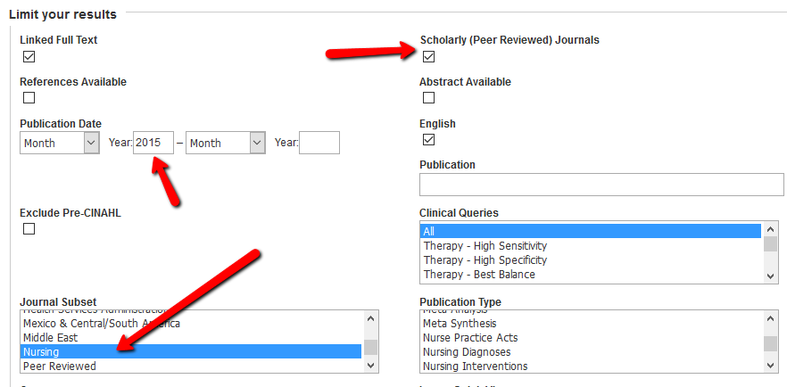 Select nursing in the Journal Subset section