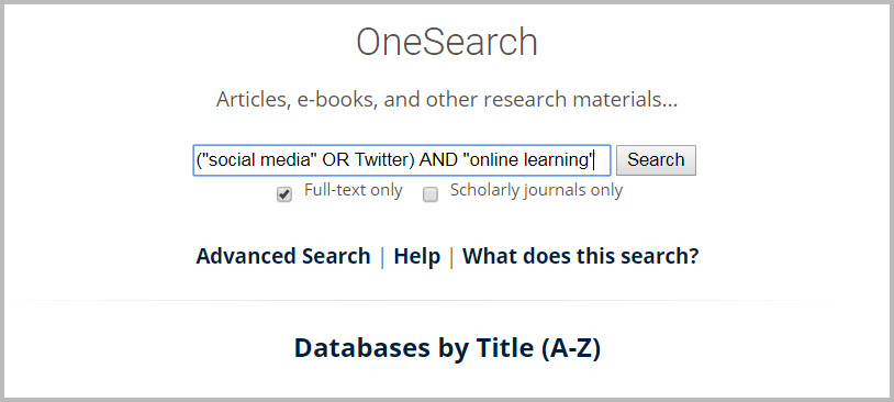 OneSearch box on library home page