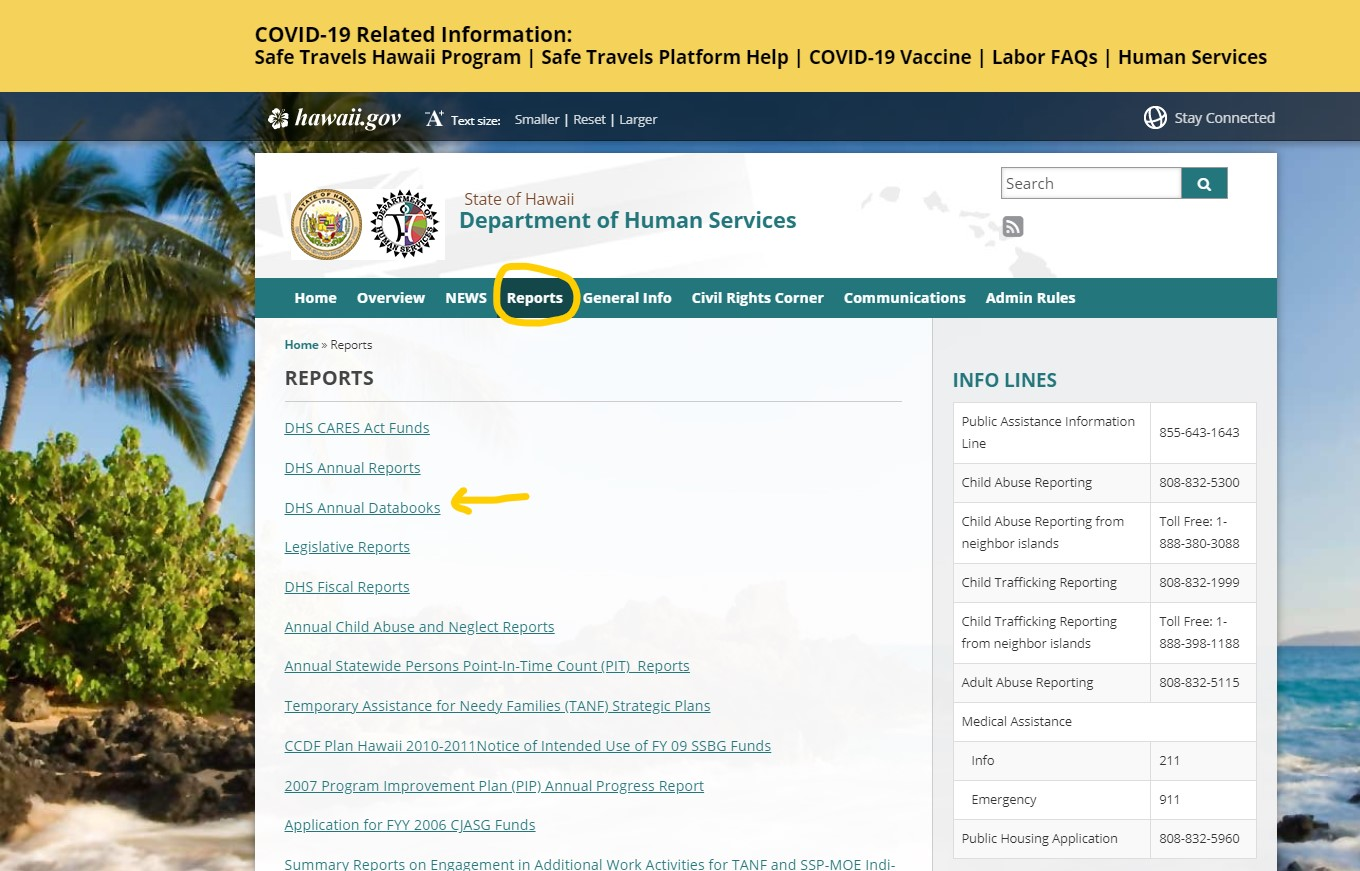 Department of Human Services Reports page
