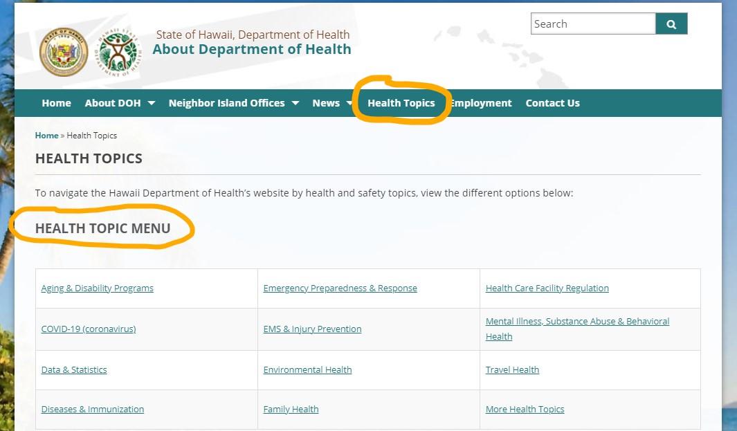 Department of Health health topics menu