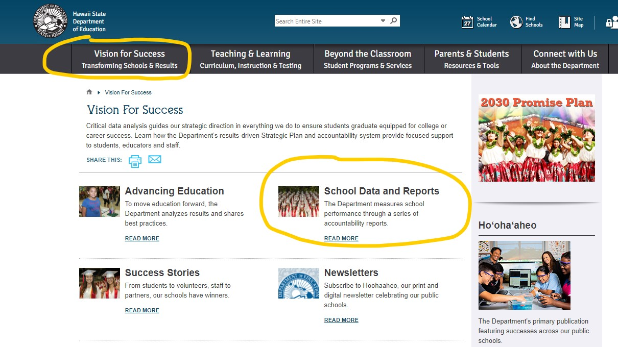 Department of Education school data and reports access.