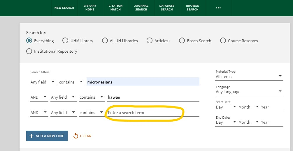 Screenshot of Advanced Search in OneSearch